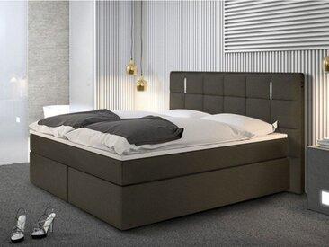 Ensemble boxspring complet tête de lit avec Leds + sommiers + matelas + surmatelas BILBAO - 160x200cm - simili - Anthracite