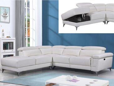 Canapé d'angle relax électrique en cuir PASCALINE - Ivoire - Angle gauche