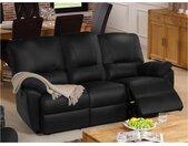 Canapé 3 places relax électrique en cuir MARCIS - Noir