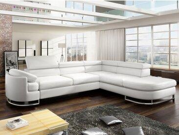 Canapé d'angle convertible en simili MYSEN  - Blanc - Angle droit