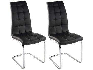 Lot de 2 chaises NADYA - Simili - Noir