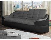 Canapé 3 places en tissu et simili FAREZ - Bicolore gris et noir