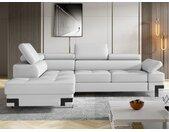Canapé d'angle convertible en simili DAMIEN II - Blanc - Angle gauche