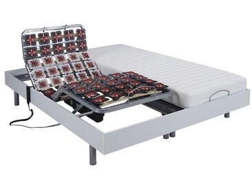 Lit électrique relaxation tout plots matelas latex CASSIOPEE III de DREAMEA - moteurs OKIN - 2 x 80 x 200 cm - blanc