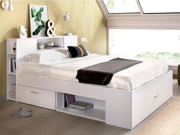 Lit LEANDRE avec tête de lit rangements et tiroirs - 140x190cm - Coloris : Blanc