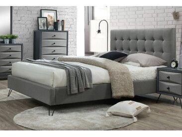 Lit avec tête de lit capitonnée et pieds métal COSTANZA - Tissu - 160x200 cm - Gris