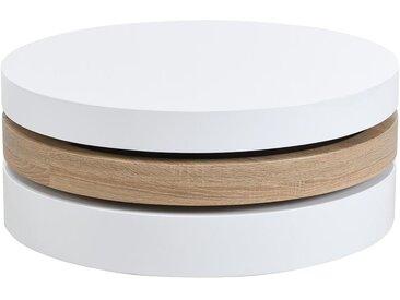Table basse pivotante ronde JANITA - MDF - Blanc et chêne