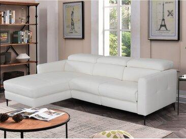 Canapé d'angle relax électrique SHILO en cuir supérieur - Blanc - Angle gauche