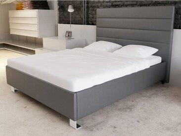 Lit MADLEN - 160x200cm - Simili gris