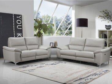 Canapé 3+2 places relax électrique  AZURIN en cuir de buffle - Gris clair