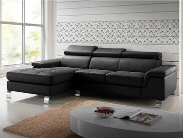 Canapé d'angle cuir MISHIMA - Noir - Angle gauche