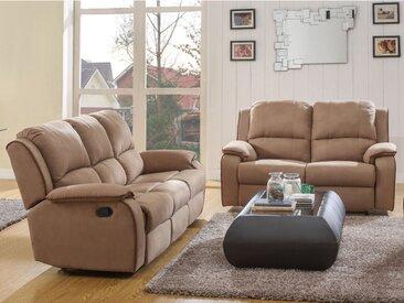 Canapé 3+2 places relax en microfibre HERNANI - Taupe