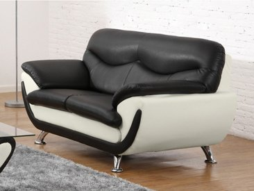 Canapé 2 places en simili INDICE - Bicolore noir et ivoire