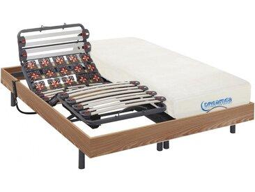 Ensemble relaxation lattes et plots mémoire forme DIONYSOS de DREAMEA - moteurs OKIN - chêne naturel -  2x80x200cm