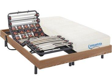 Lit électrique relaxation lattes et plots matelas mémoire forme DIONYSOS de DREAMEA - moteurs OKIN - chêne naturel -  2 x 80 x 200 cm