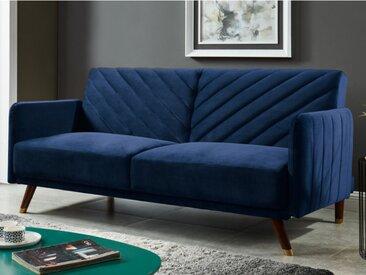 Canapé 3 places convertible clic-clac en velours JORIS - Bleu nuit