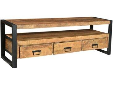 Meuble TV HARLEM - 3 tiroirs & 1 niche - Bois de manguier & métal