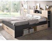 Lit LEANDRE avec tête de lit rangements et tiroirs - 140x190 cm - Coloris : Chêne et anthracite