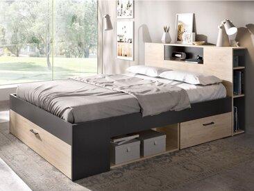 Lit LEANDRE avec tête de lit rangements et tiroirs - 140x190cm - Coloris : Chêne et anthracite
