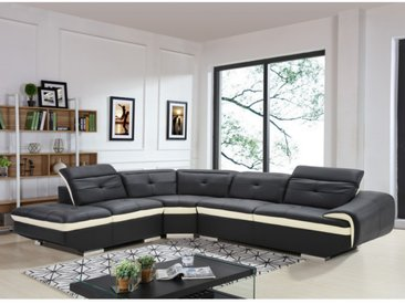 Canapé d'angle en cuir de buffle LOMANDE - Noir - Angle gauche