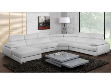 Canapé panoramique 7 places en cuir ELEVANTO - Blanc - Angle gauche