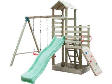 Aire de jeux en bois avec toboggan, 2 balançoires, mur d'escalade, tour et bac à sable AMAZONIE - L360xP360xH257 cm