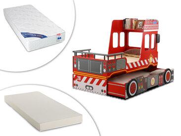 Lit pompier gigogne SAPEUR - 2x90x190 cm - MDF rouge + 2 matelas mousse 90x190
