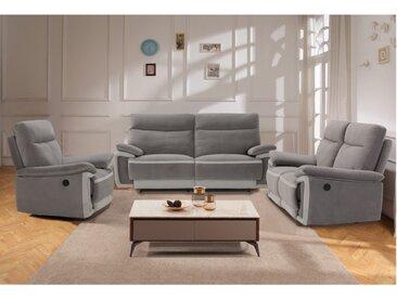 Canapé 3+2+1 places relax électrique METTI en velours - Gris et bandes gris clair