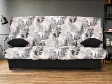 Canapé clic clac en tissu FARWEST avec coffre de rangement - Imprimé JUNGLE