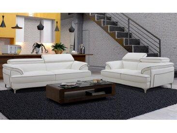 Canapé 3+2 places en simili VOLTAIRE - Blanc passepoil gris