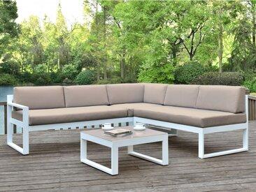 Salon de jardin PALAOS - Table basse et canapé d'angle relevable 6 places - Taupe