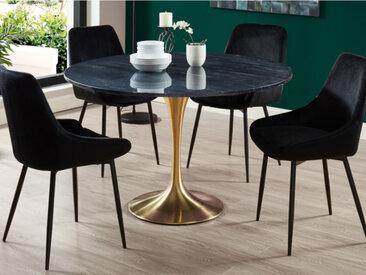 Table à manger NORAH - 4 couverts - Marbre et métal - Noir et Doré
