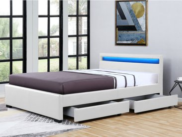 Lit ALOIS avec rangements - 160x200cm - Simili blanc avec LEDs