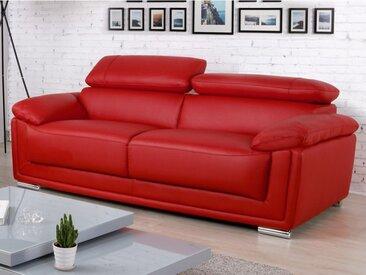 Canapé 3 places en cuir MISHKA - Rouge