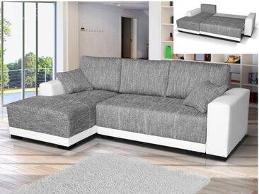 Canapé d'angle convertible en tissu et simili JARED - Bicolore Blanc et gris chiné - Angle gauche