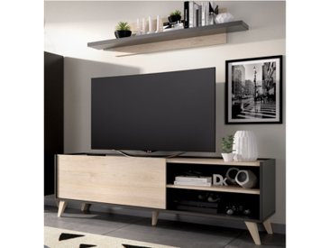 Ensemble TV KOLYMA - 1 porte & 2 niches - Coloris : Chêne & Anthracite