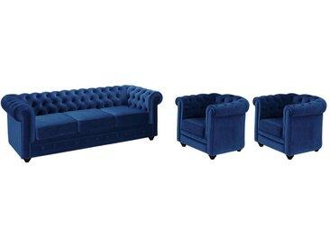 Canapé 3 places et 2 fauteuils CHESTERFIELD - Velours bleu roi