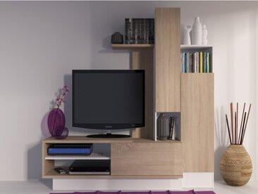 Mur TV BALINTO avec rangements - Chêne & blanc