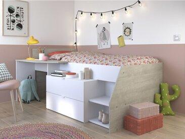Lit GISELE avec bureau et rangements inclus - 90x200cm - Blanc et chêne