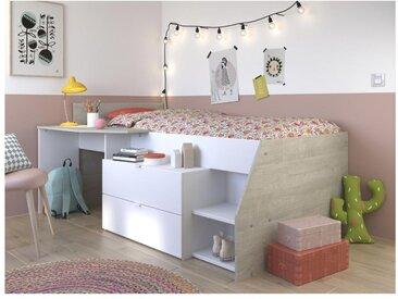 Lit GISELE avec bureau et rangements inclus - 90 x 200 cm - Blanc et chêne