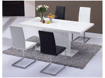 Table à manger SOLISTE - 6 couverts - MDF - Blanc laqué