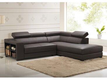 Canapé d'angle cuir LEEDS - Marron - Angle droit