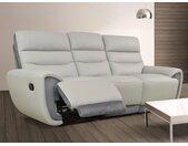Canapé 3 places relax COSMY en cuir et détails microfibre - Gris clair et anthracite