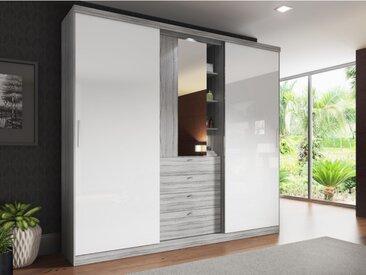 Armoire BODIL - portes coulissantes - Miroir et tiroirs - L240cm - Gris et blanc