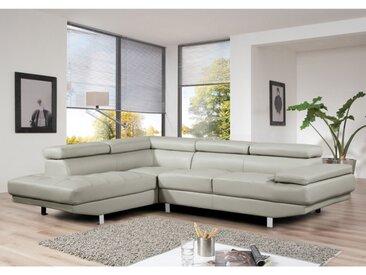 Canapé d'angle en cuir DUNCAN - Gris clair - Angle gauche