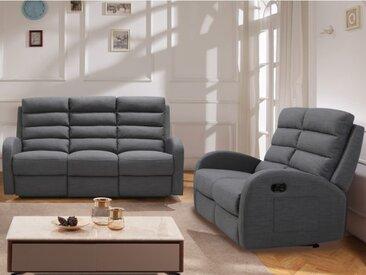 Canapé 3+2 places relax en tissu GIORGIA - Gris