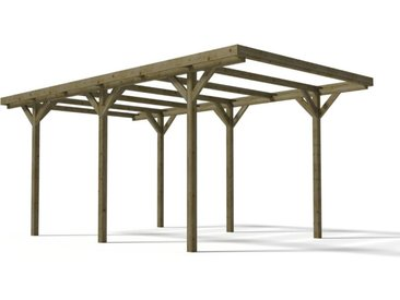 Carport simple ZEPHYR en bois autoclavé traité classe III - Surface 15.5 m²