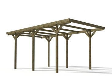 Carport simple ZEPHYR en bois traité classe III - Surface 15.5 m²