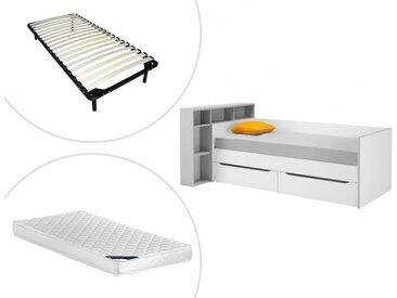Lit + tête de lit OSCAR avec rangements et tiroirs - 90 x 200 cm - Blanc et gris + sommier + matelas