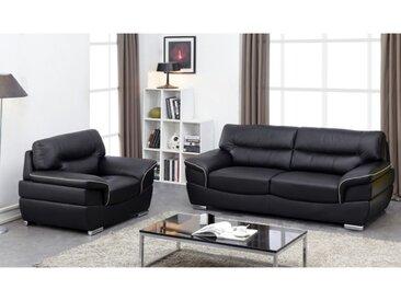 Canapé 3+1 places en cuir THIBAULT - Noir